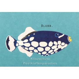 Holzschliffpappe Postkarten von Studio Blankensteyn - Fisch - Blubb