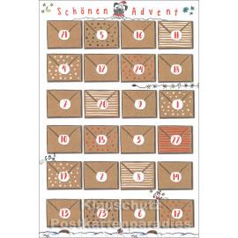 Taurus Postkarten Adventskalender - Briefumschläge - Schönen Advent