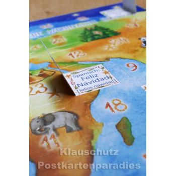 Postkarten Adventskalender von Taurus - Frohe Weihnacht überall in 24 Sprachen - Detailaufnahme