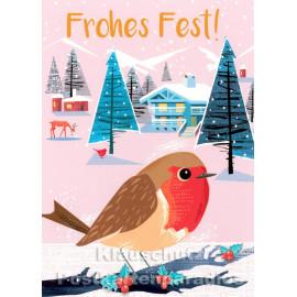 Frohes Fest | Rotkehlchen Weihnachtskarte von Bizarr / Discordia