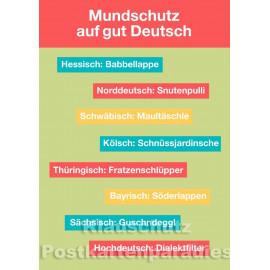Cityproducts Postkarte: Mundschutz auf gut Deutsch