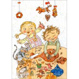 Soganci Doppelkarte Weihnachten von Discordia | Kinder backen