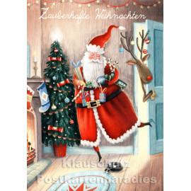 Taurus Weihnachtskarte | Zauberhafte Weihnachten mit dem Weihnachtsmann und einem Elch
