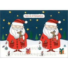 Weihnachtsmann - Finde die 12 Unterschiede - SkoKo Wimmelbild Postkarte
