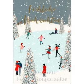 Taurus Fröhliche Weihnachten Doppelkarte | goldfarben und geprägt