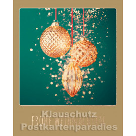 Goldfarbene Doppelkarte von Cityproducts  - Frohe Weihnachten