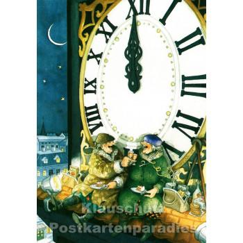 Inge Löök Neujahrskarte   Alte Frauen - Anstoßen um Mitternacht