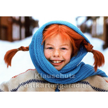 Kinder Postkarte | Pippi Langstrumpf im Winter