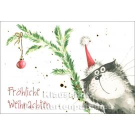 Weihnachtskarte mit Katze von Taurus - Fröhliche Weihnachten