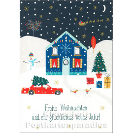 Doppelkarte Winterlandschaft mit rotem Auto - Frohe Weihnachten und ein glückliches neues Jahr