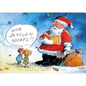 Discordia Weihnachtskarten - Wir bereuen nichts! Peter Gaymann Comic Weihnachtskarte mit dem Weihnachtsmann