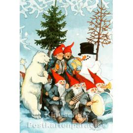 Taurus Weihnachtskarte von Inge Löök aus Finnland: Wichtelorchester mit den alten Frauen