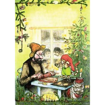 Pettersson und Findus backen Weihnachtsplätzchen - Weihnachtskarte