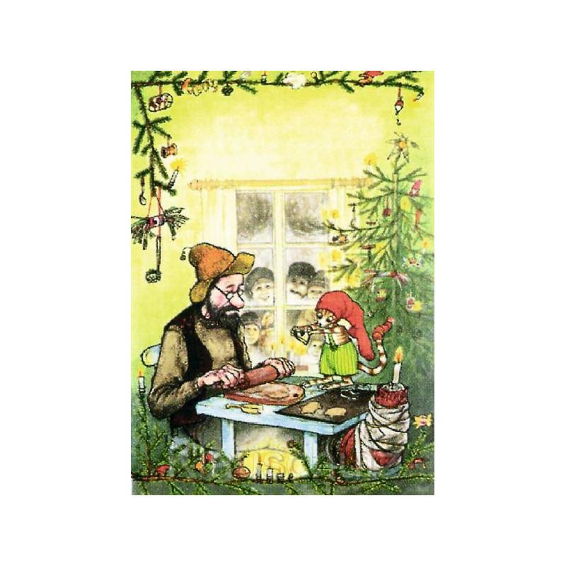 Pettersson und Findus backen Weihnachtsplätzchen - Discordia Weihnachtskarte