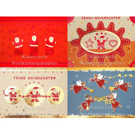 Postkartenpaket mit 4 nostalgischen Weihnachtskarten mit Glanzfolie
