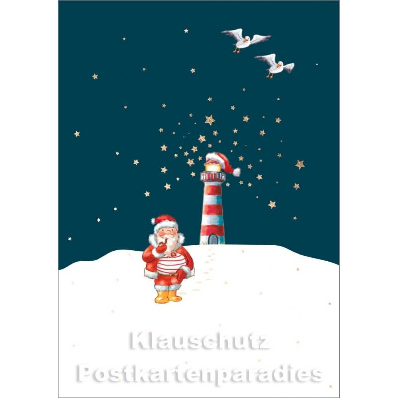 Goldfarbene Cityproducts Weihnachtskarte mit von der Küste | Weihnachtsmann und Leuchtturm