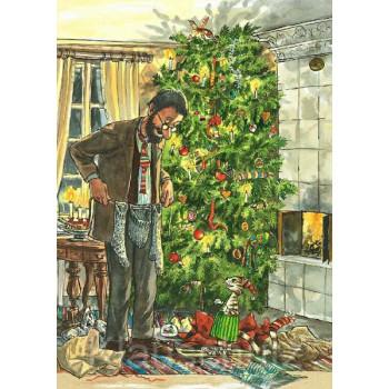 Weihnachtskarte - Pettersson und Findus feiern Bescherung unterm Weihnachtsbaum.