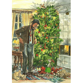 Discordia Weihnachtskarte - Pettersson und Findus feiern Bescherung unterm Weihnachtsbaum.