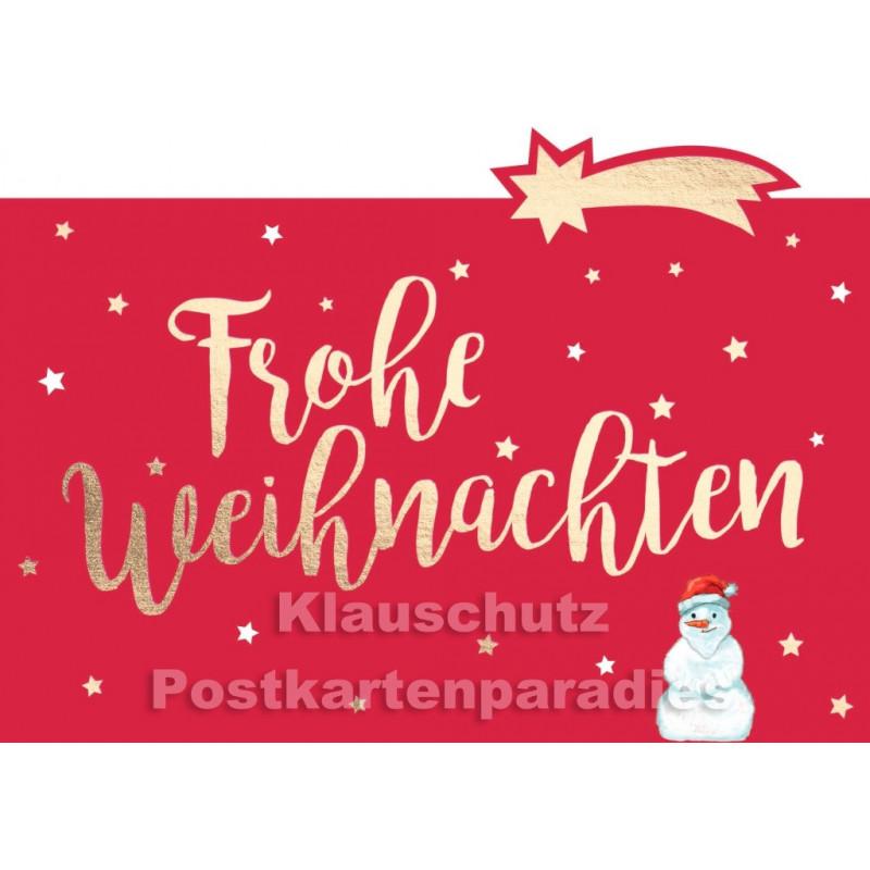 Rote Weihnachtskarte mit Schneemann von Cityproducts: Frohe Weihnachten - ausgestanzt mit goldfarbener Lackierung