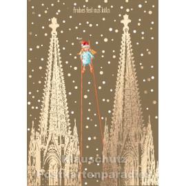 Goldfarbene Cityproducts Weihnachtskarte mit dem Kölner Dom - Frohes Fest aus Köln