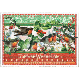 Edition Tausendschön - Nostalgische Retro Weihnachtskarte mit Glitter - Rotkehlchen - Fröhliche Weihnachten