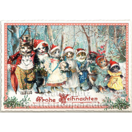 Nostalgische Retro Weihnachtskarte mit Katzen aus der Edition Tausendschön - Frohe Weihnachten