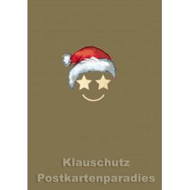Cityproducts Weihnachtskarte - Weihnachtsmann Smiley - Mit goldfarbener Lackierung