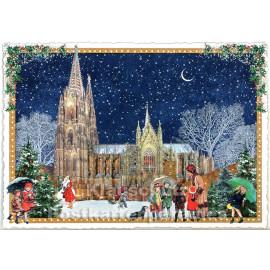 Nostalgische Retro Weihnachtskarte mit Glitter - Kölner Dom