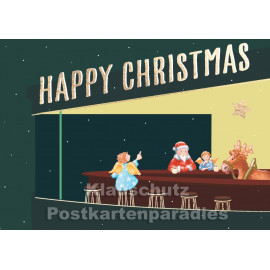 Happy Christmas in der Bar | Goldfarbene Doppelkarte