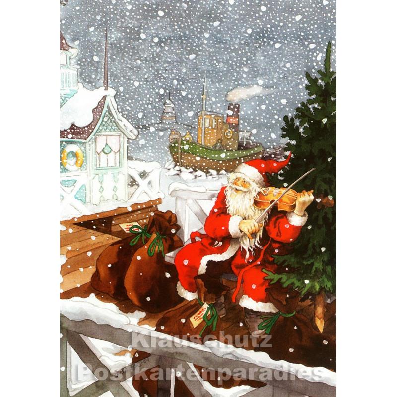 Taurus Weihnachtskarte von Inge Löök aus Finnland: Weihnachtsmann spielt Geige