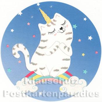 ActeTre / Edition Tausendschön runde Postkarte - Einhorn Katze