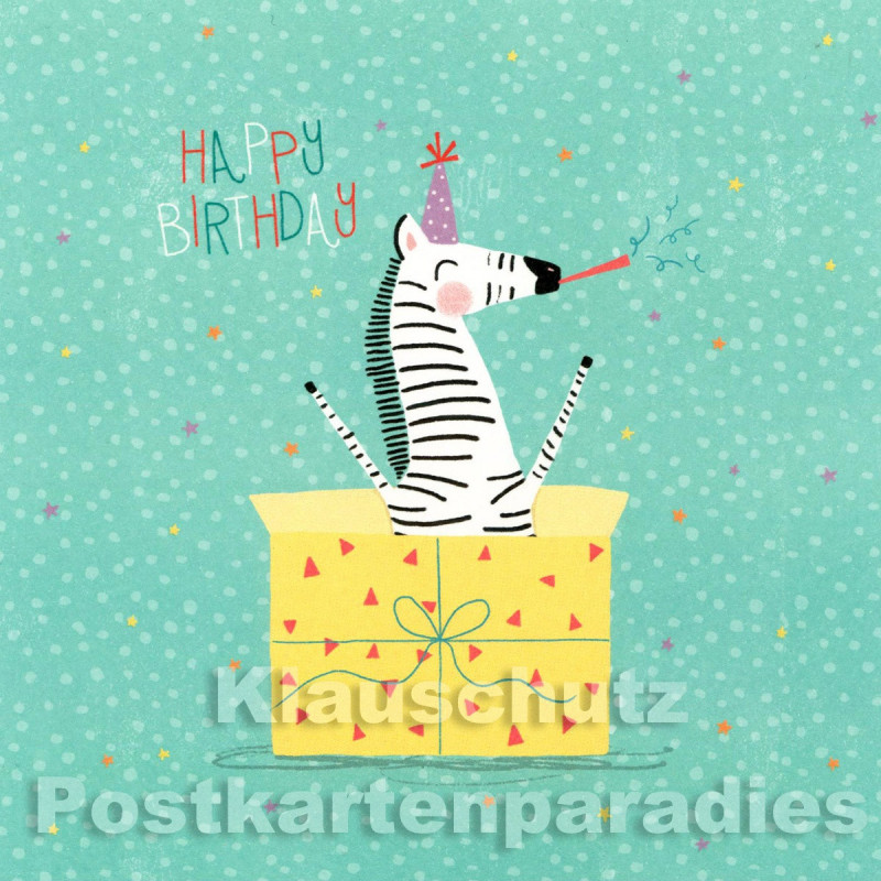Quadratische Postkarte von SkoKo zum Geburtstag - Happy Birthday Zebra