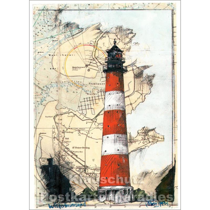 Leuchtturm Postkarte Westerheversand von Ole West / Tidenhub Verlag