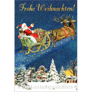 ActeTre Weihnachten Doppelkarte mit Glitter - Frohe Weihnachten Weihnachtsmann