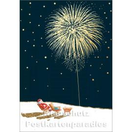 Cityproducts Weihnachtskarte - Weihnachtsmann genießt Feuerwerk - Mit goldfarbener Teillackierung