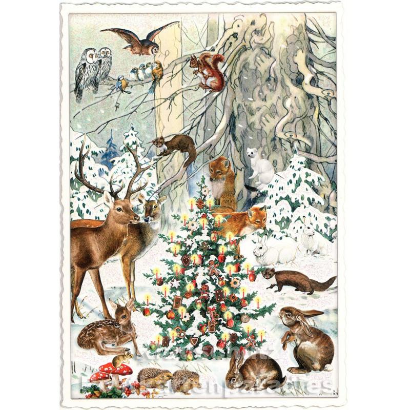 Edition Tausendschön - Nostalgische Retro Weihnachtskarte mit Glitter - Rehe im Wald - Fröhliche Weihnachten