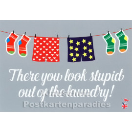There you look stupid out of the laundry | Mainspatzen Denglish Postkarte