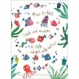Schöne SkoKo Postkarte mit Fischen | Bleibe fröhlich, frisch und munter