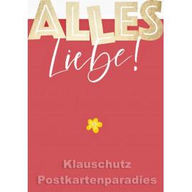 Goldfarbene Cityproducts Geburtstagskarte mit Stanzung | Alles Liebe!
