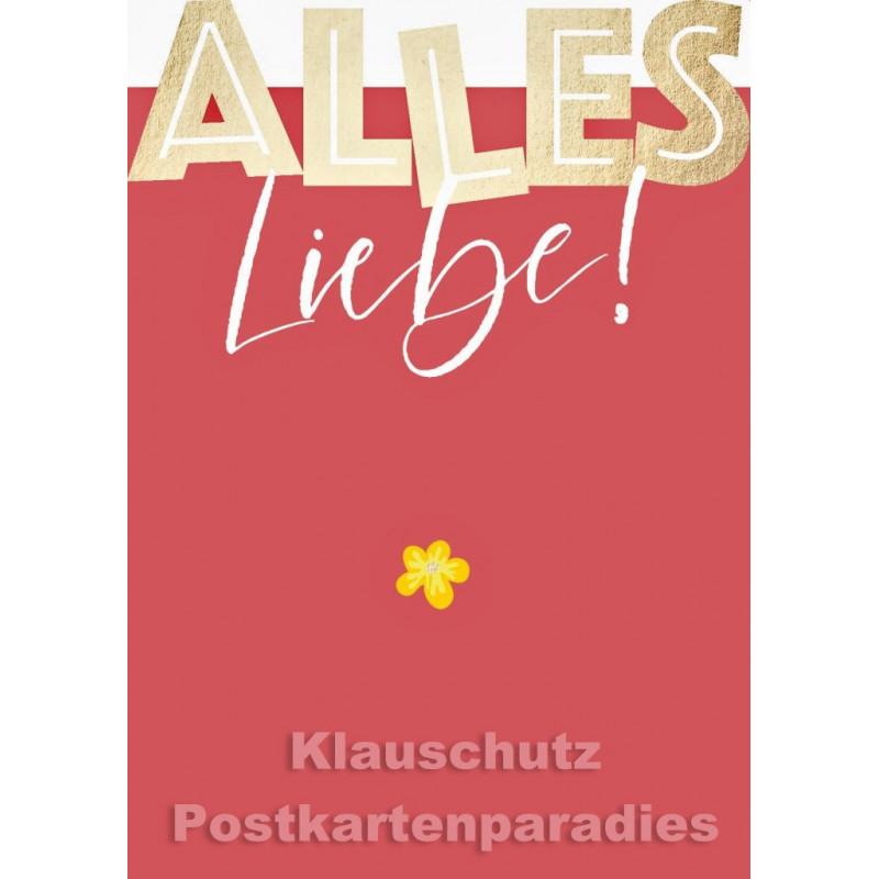 Goldfarbene Cityproducts Geburtstagskarte mit Stanzung   Alles Liebe!