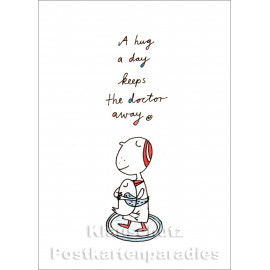 A hug a day keeps the doctor away | Postkarte von Discordia / karindrawings