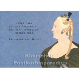 Holzschliffpappe Zitat Postkarte von Studio Blankensteyn | Katharina die Große