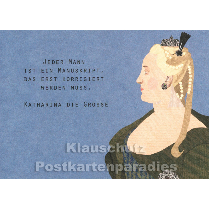Holzschliffpappe Zitat Postkarte von Studio Blankensteyn   Katharina die Große