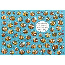 Wimmelbild Postkarte von SkoKo | Welche Biene hat Post bekommen?