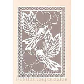 Doppelkarte mit Lasercut-Stanzung von ActeTre / Quire - Vögel und Herzen