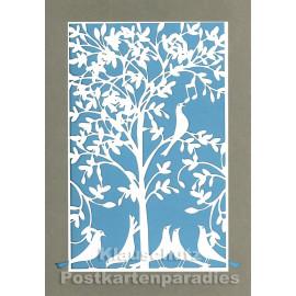 Doppelkarte mit Lasercut-Stanzung von ActeTre / Quire - Vögel und Baum