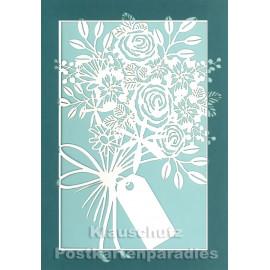 Doppelkarte mit Lasercut-Stanzung von ActeTre / Quire - Blumenstrauß