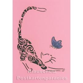 Doppelkarte mit Lasercut-Stanzung von ActeTre - Katze und Schmetterling