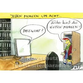 Discordia Postkarte Peter Gaymann | Jeden Morgen um Acht ...