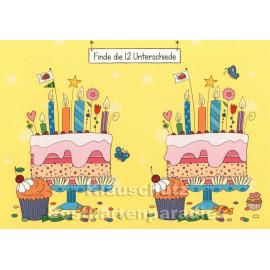 Geburtstagstorte Rätsel - Finde die 12 Unterschiede - SkoKo Wimmelbild Postkarte